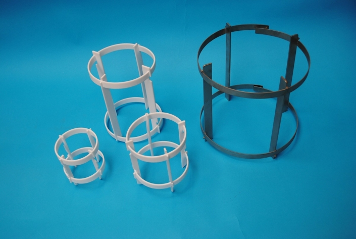 PTFE or stainless steel baffles for glassware