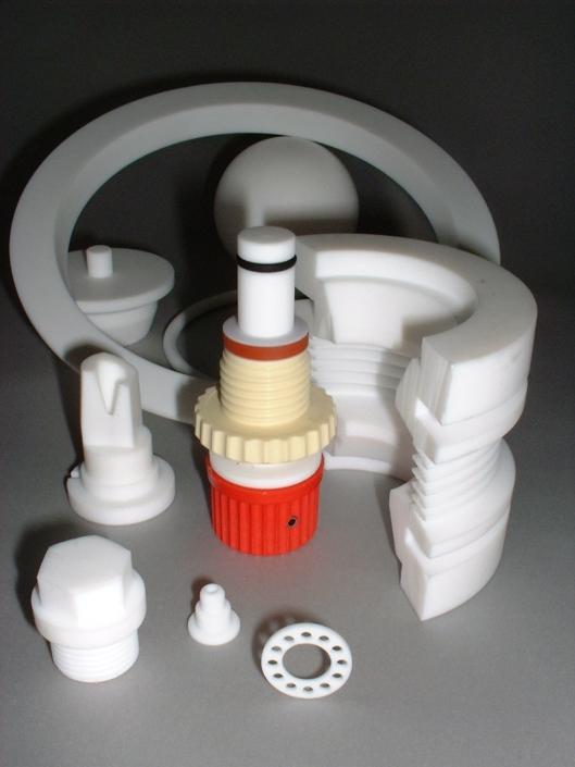 Glassware part machining, PTFE, Peek, aluminium